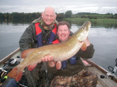 Paul Mersh holding his Dad Pete's 35lb 5oz Chew pike