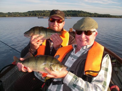 Alex and George Mason with a nice brace of Chew perch