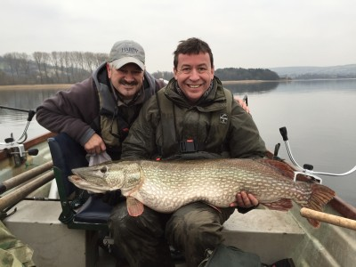 Neil Leaver with his 30lb pike caught with me during last Feb Pike Trials