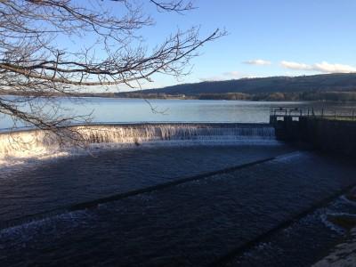 Blagdon spillway overflowing