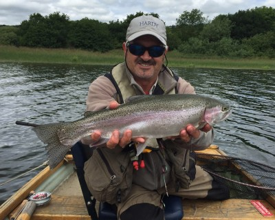 John Horsey with a superbly conditioned Blagdon rainbow