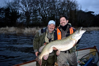 Enrico Pini and I with his 40:08 fly caught Chew pike last March