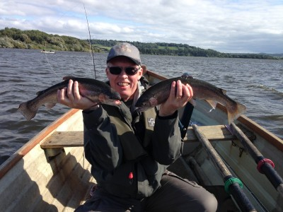 Barry Hawyes with a brace of 3lb+ Chew rainbows