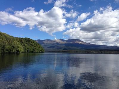 Lake Rotoaira and smoking active volcano