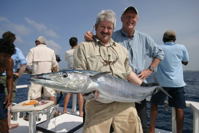 John and Chris Tarrant with a big Wahoo in the Maldives