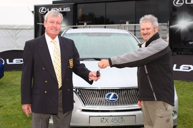 Dave lang being presented with the keys to his brand new Lexus RX450