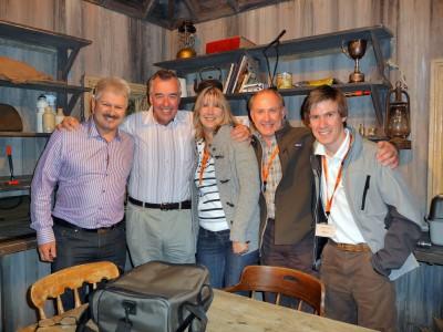 JH, Keith Arthur, Caroline, Gary and Sam Edmonds in the Tight Lines Studio