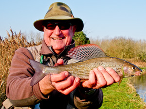 Grayling caught whilst fly fishing on the River Test